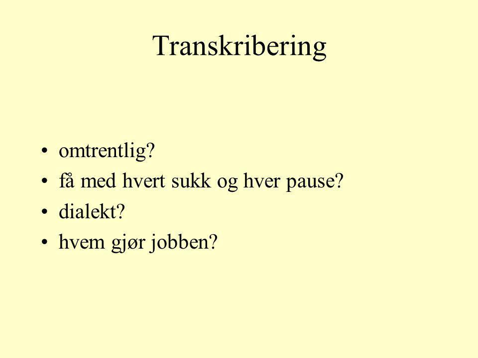 Transkribering omtrentlig få med hvert sukk og hver pause dialekt