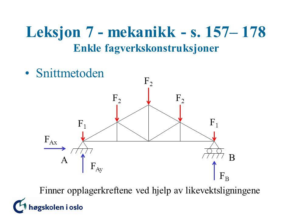 Leksjon 7 - mekanikk - s. 157– 178 Enkle fagverkskonstruksjoner