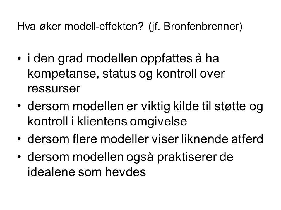 Hva øker modell-effekten (jf. Bronfenbrenner)