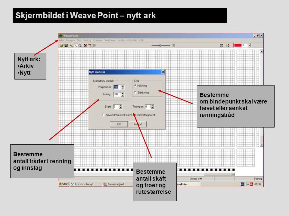 Skjermbildet i Weave Point – nytt ark