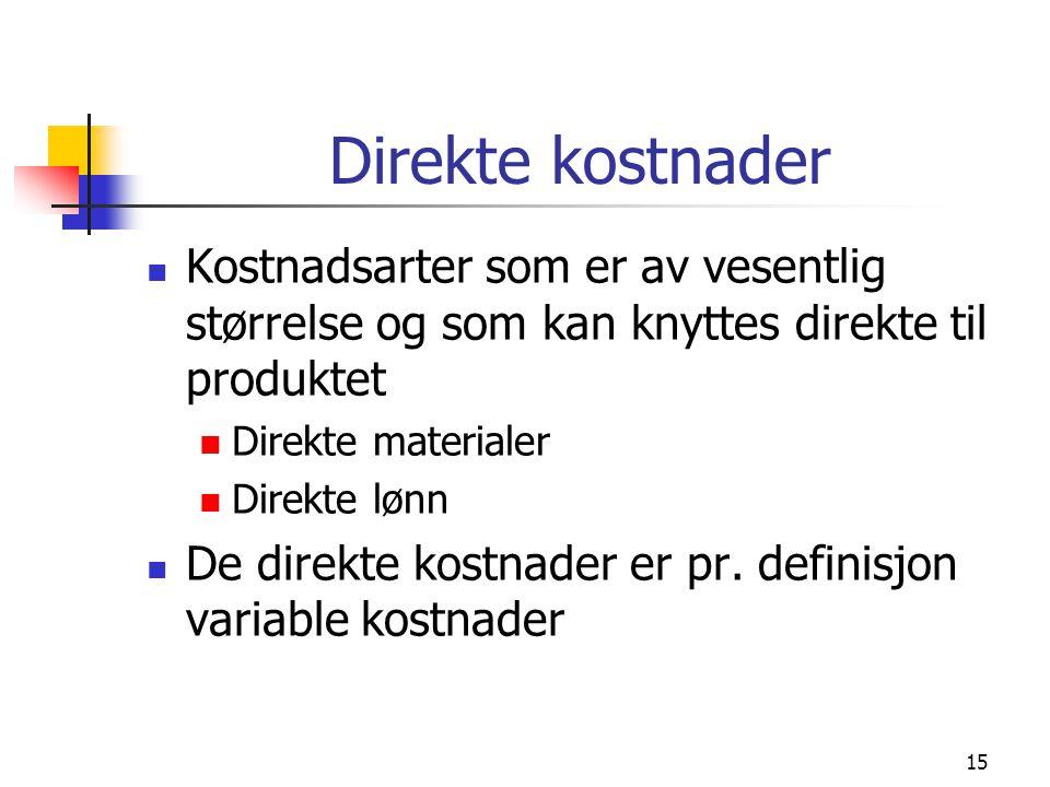 Direkte kostnader Kostnadsarter som er av vesentlig størrelse og som kan knyttes direkte til produktet.
