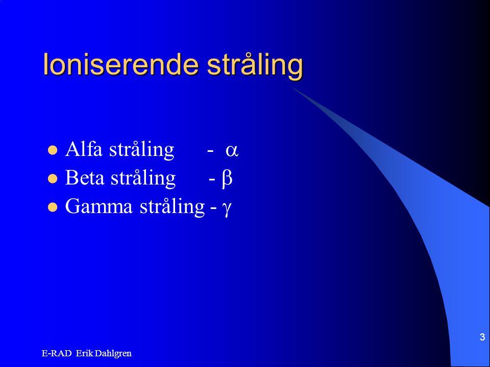 Ioniserende stråling Alfa stråling -  Beta stråling - 