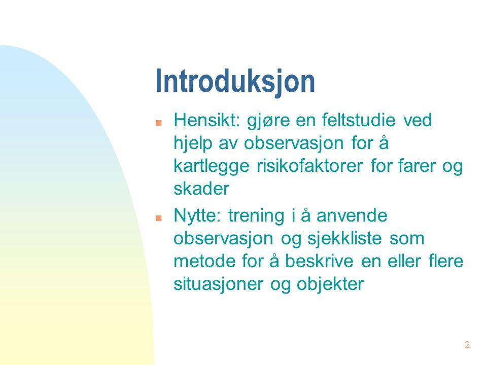 Introduksjon Hensikt: gjøre en feltstudie ved hjelp av observasjon for å kartlegge risikofaktorer for farer og skader.