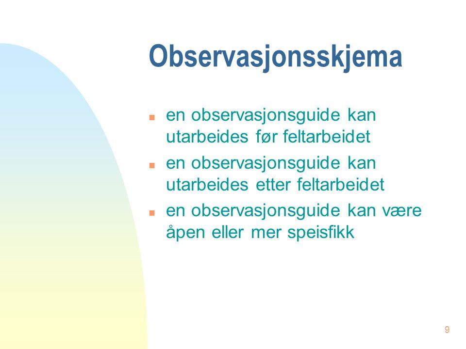 Observasjonsskjema en observasjonsguide kan utarbeides før feltarbeidet. en observasjonsguide kan utarbeides etter feltarbeidet.
