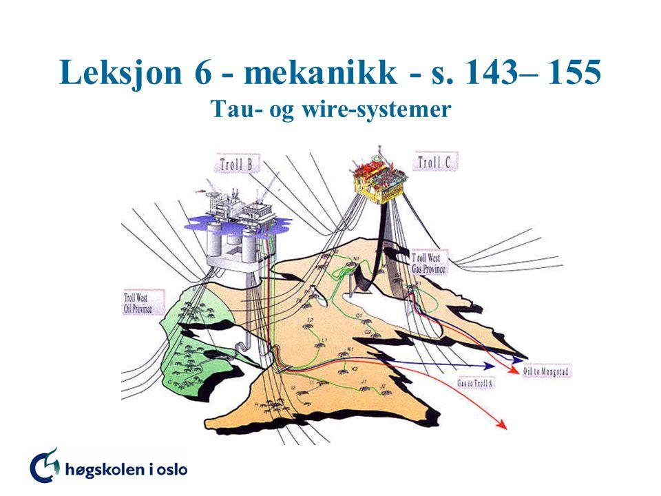 Leksjon 6 - mekanikk - s. 143– 155 Tau- og wire-systemer