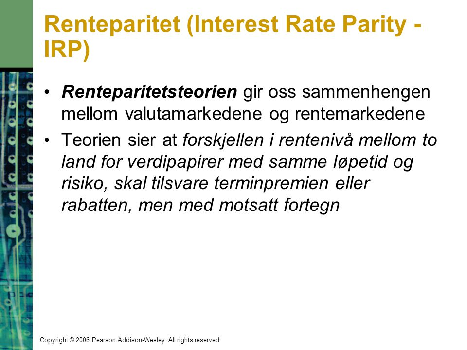 Renteparitet (Interest Rate Parity - IRP)