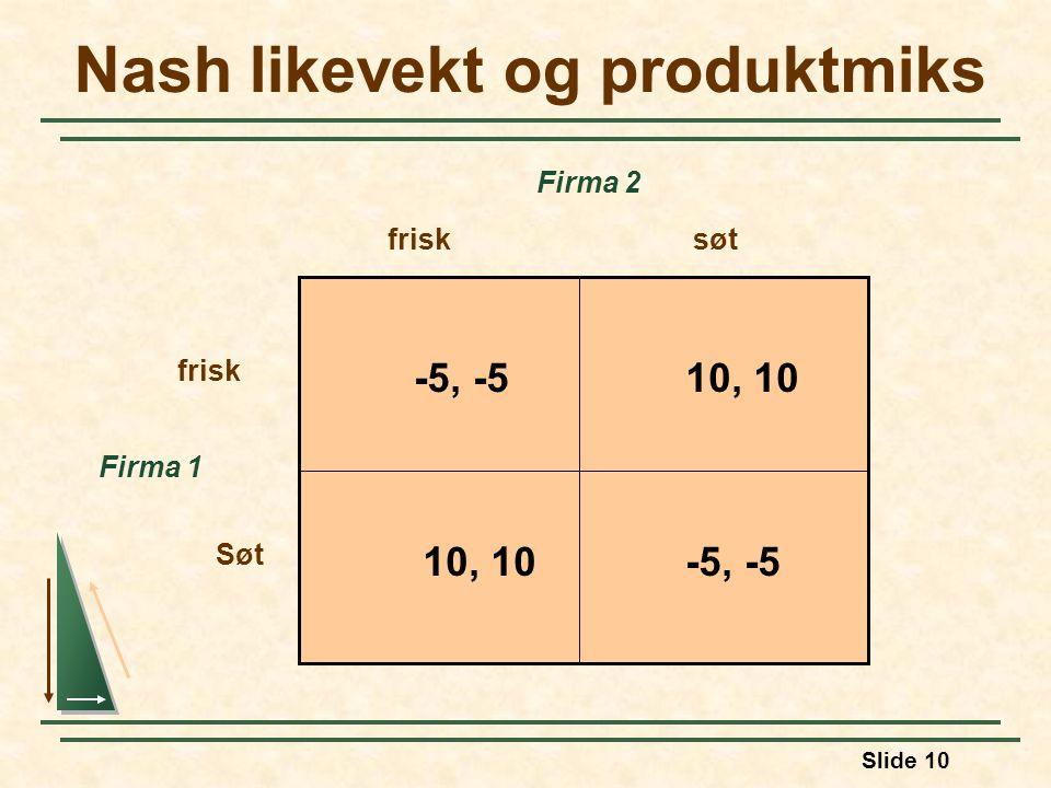 Nash likevekt og produktmiks