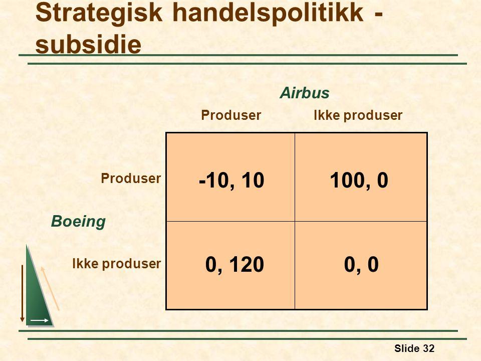 Strategisk handelspolitikk - subsidie