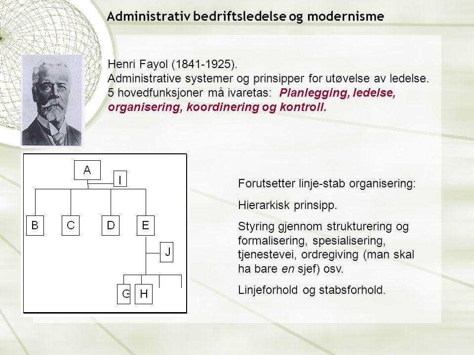 Administrativ bedriftsledelse og modernisme