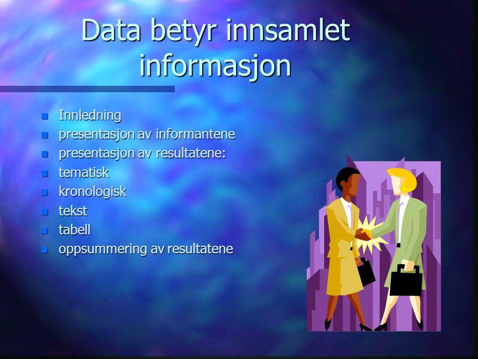 Data betyr innsamlet informasjon