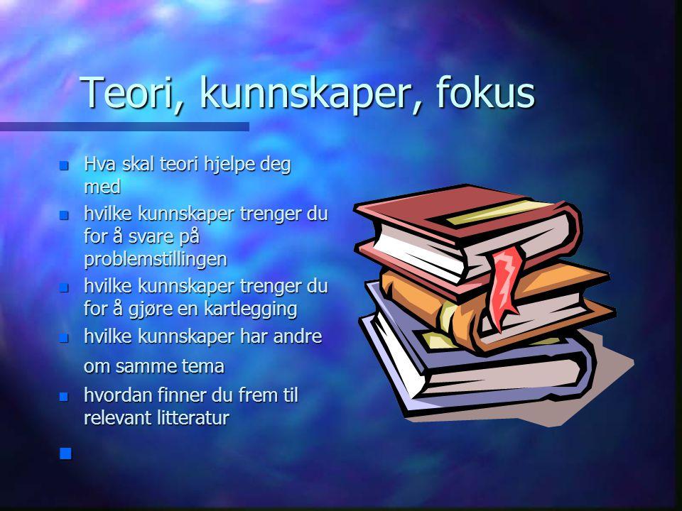 Teori, kunnskaper, fokus
