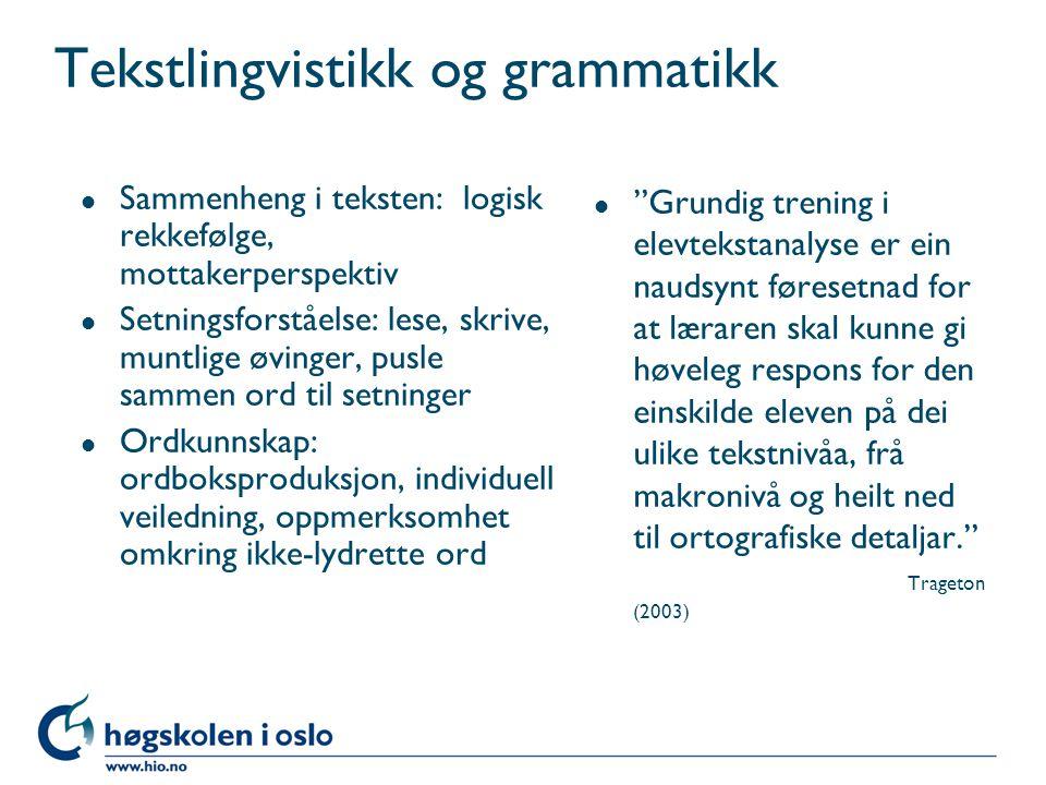 Tekstlingvistikk og grammatikk