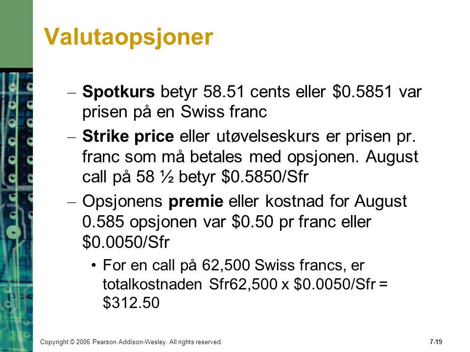 Valutaopsjoner Spotkurs betyr 58.51 cents eller $0.5851 var prisen på en Swiss franc.