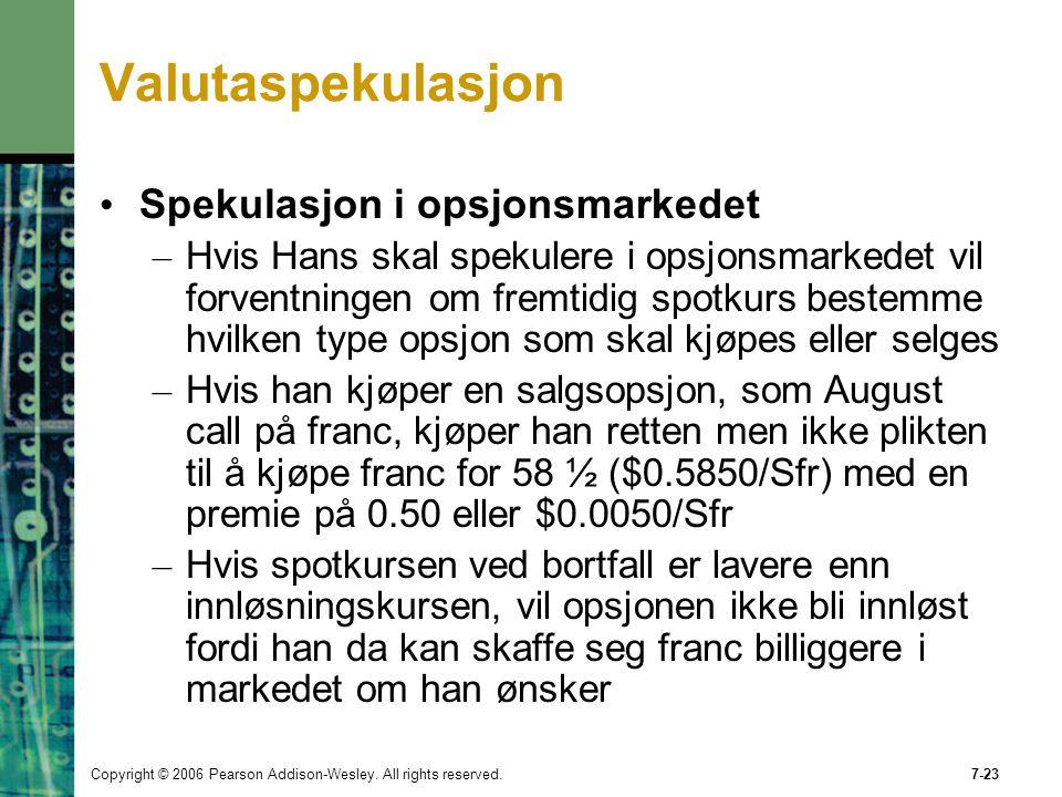 Valutaspekulasjon Spekulasjon i opsjonsmarkedet