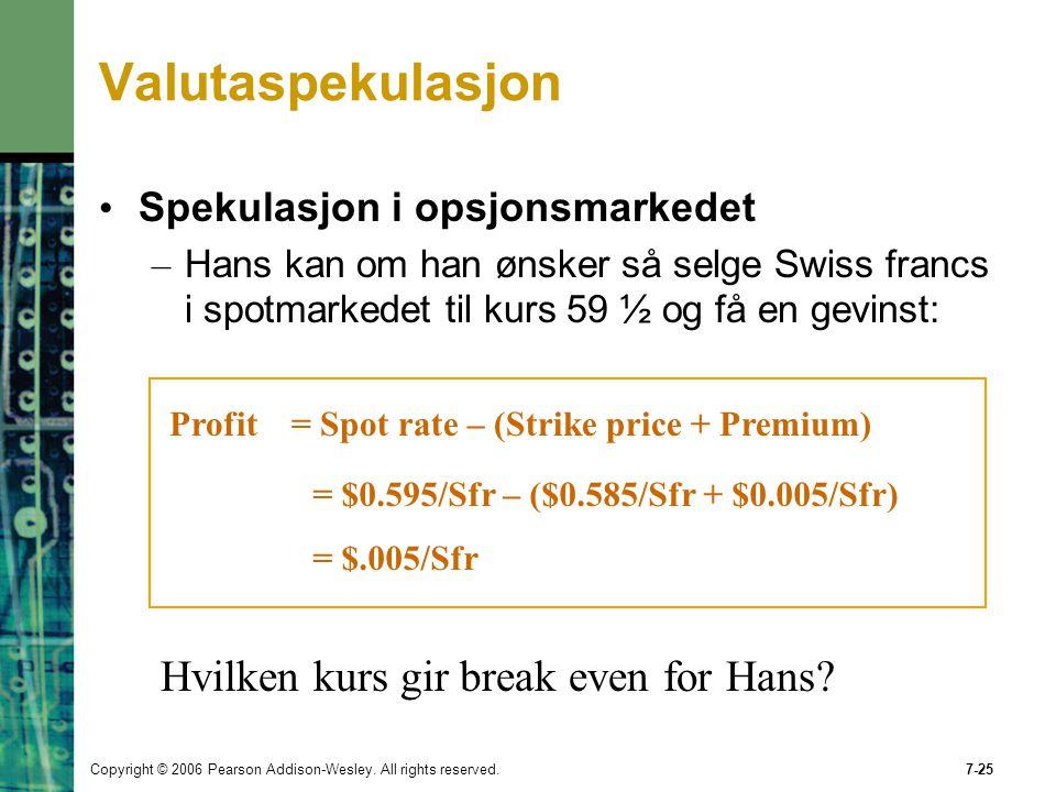 Valutaspekulasjon Hvilken kurs gir break even for Hans