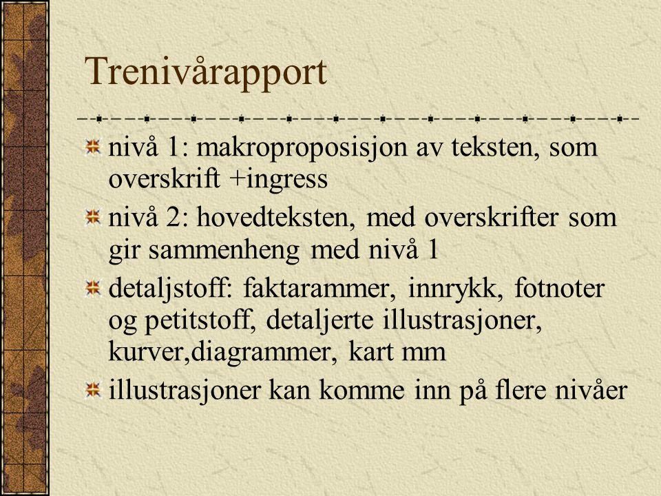 Trenivårapport nivå 1: makroproposisjon av teksten, som overskrift +ingress. nivå 2: hovedteksten, med overskrifter som gir sammenheng med nivå 1.