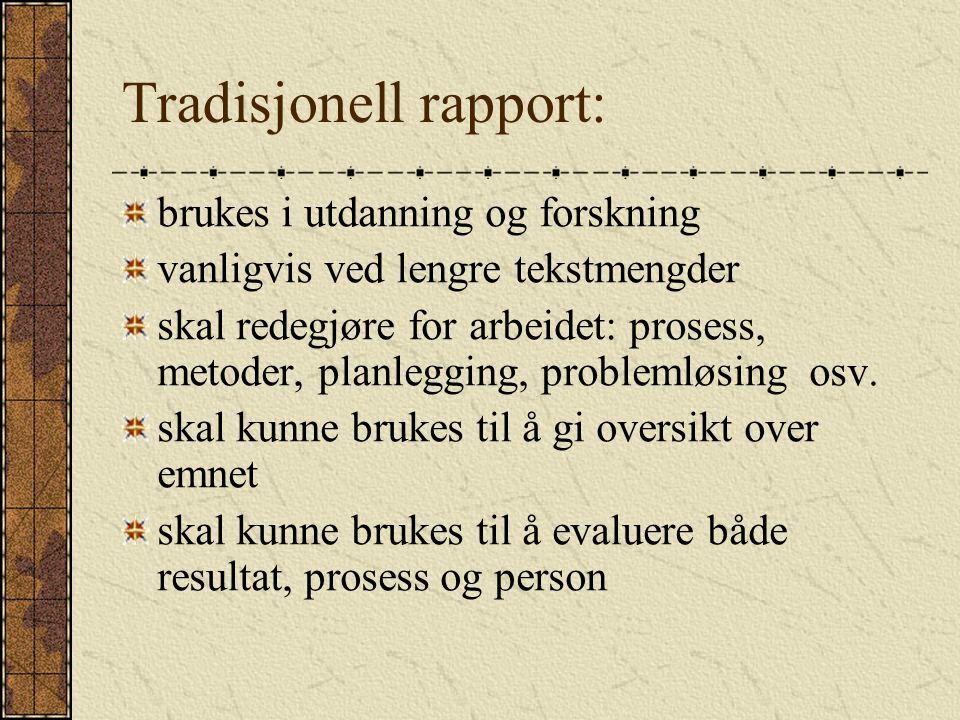 Tradisjonell rapport: