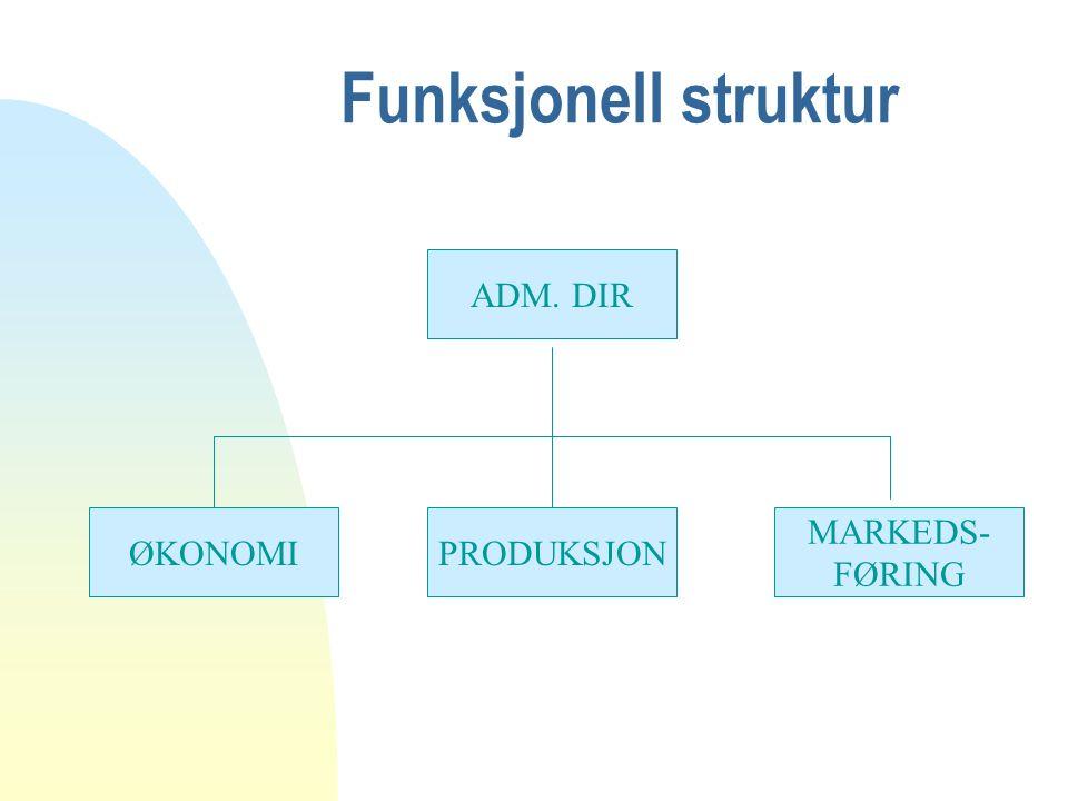 Funksjonell struktur ADM. DIR ØKONOMI PRODUKSJON MARKEDS- FØRING