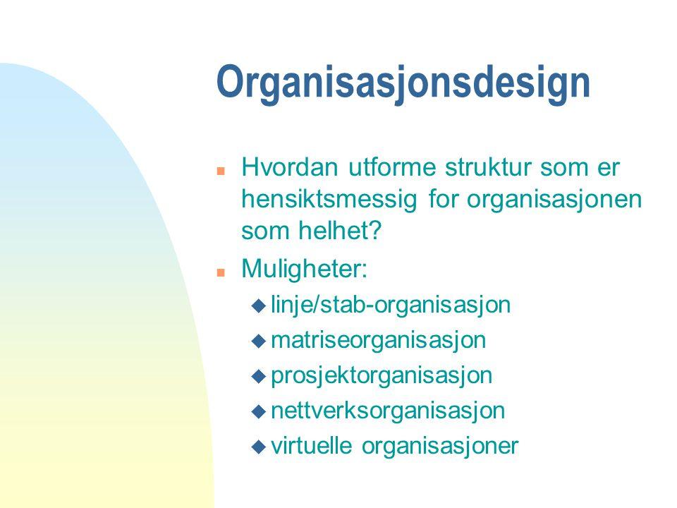 Organisasjonsdesign Hvordan utforme struktur som er hensiktsmessig for organisasjonen som helhet Muligheter: