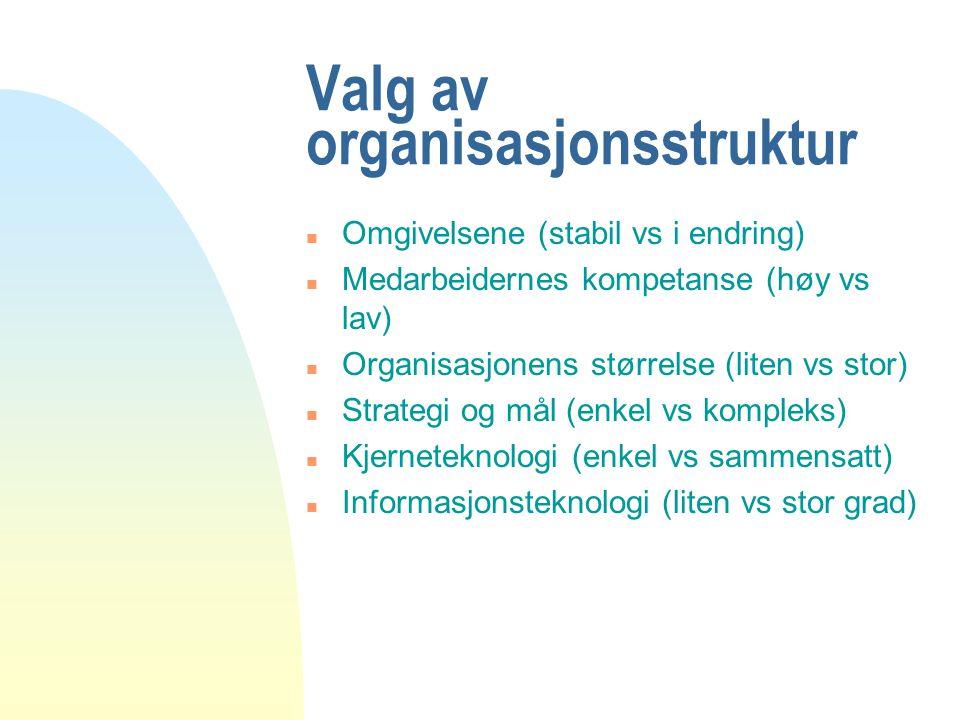 Valg av organisasjonsstruktur