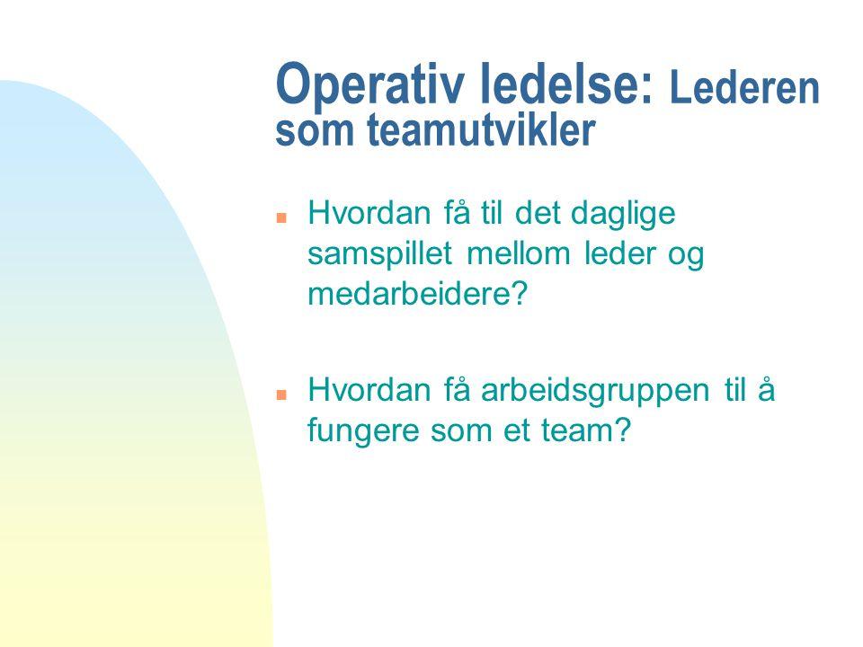 Operativ ledelse: Lederen som teamutvikler