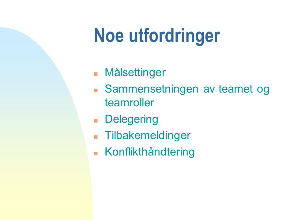 Noe utfordringer Målsettinger Sammensetningen av teamet og teamroller
