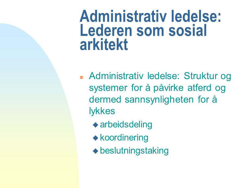 Administrativ ledelse: Lederen som sosial arkitekt