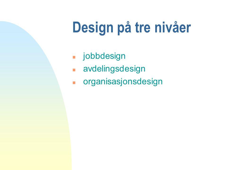 Design på tre nivåer jobbdesign avdelingsdesign organisasjonsdesign