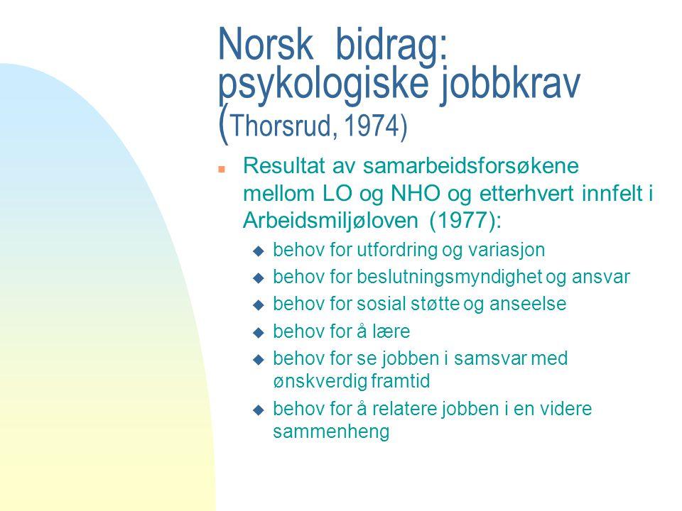Norsk bidrag: psykologiske jobbkrav (Thorsrud, 1974)