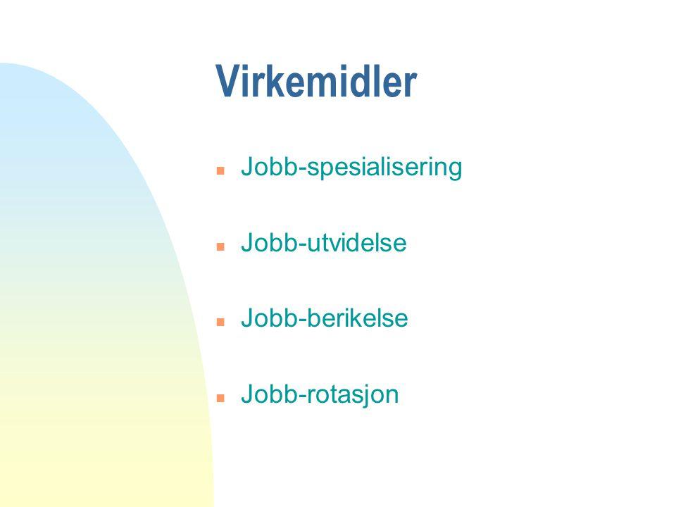 Virkemidler Jobb-spesialisering Jobb-utvidelse Jobb-berikelse