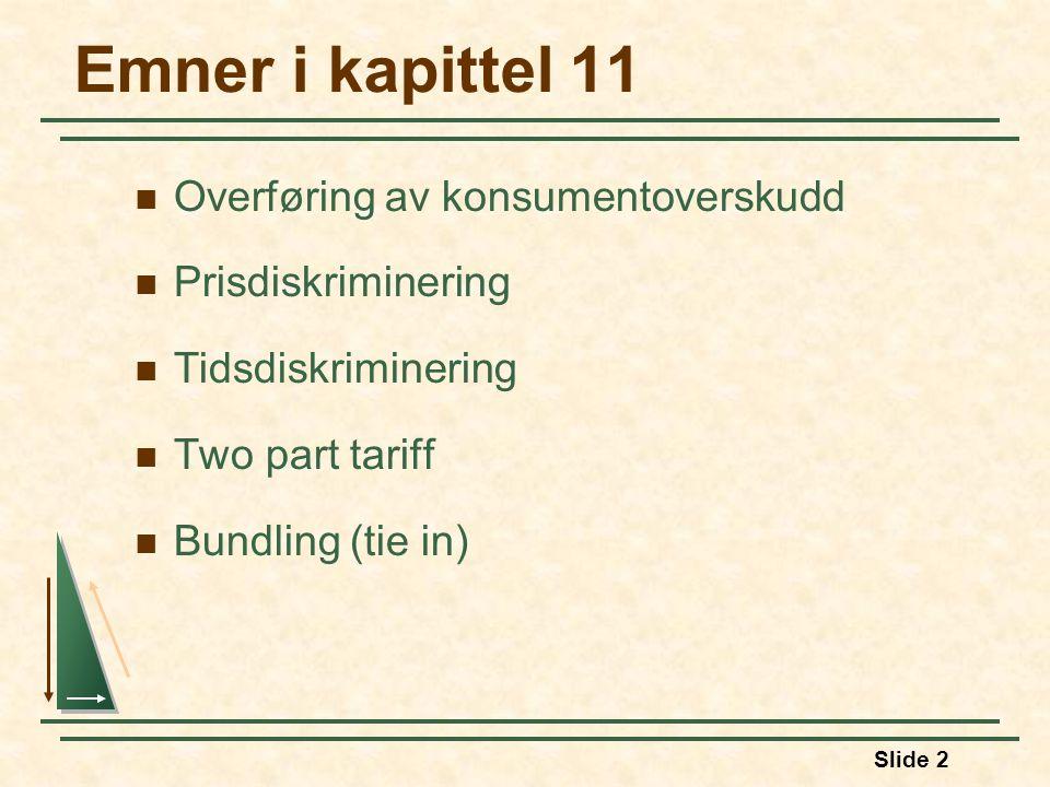 Emner i kapittel 11 Overføring av konsumentoverskudd