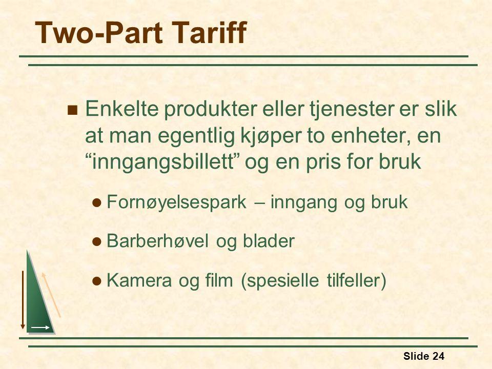 Two-Part Tariff Enkelte produkter eller tjenester er slik at man egentlig kjøper to enheter, en inngangsbillett og en pris for bruk.