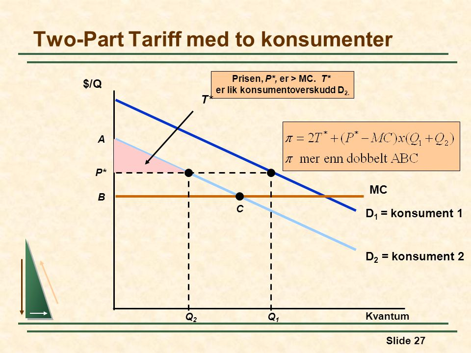 Two-Part Tariff med to konsumenter