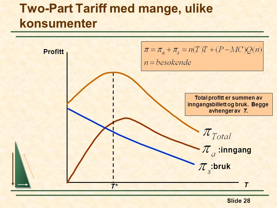 Two-Part Tariff med mange, ulike konsumenter