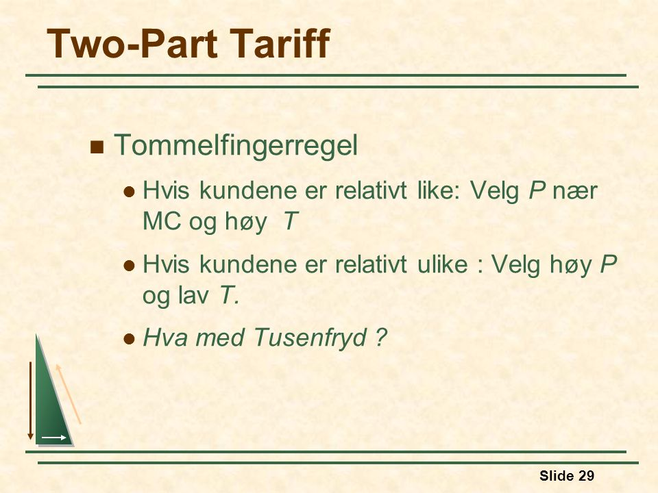 Two-Part Tariff Tommelfingerregel