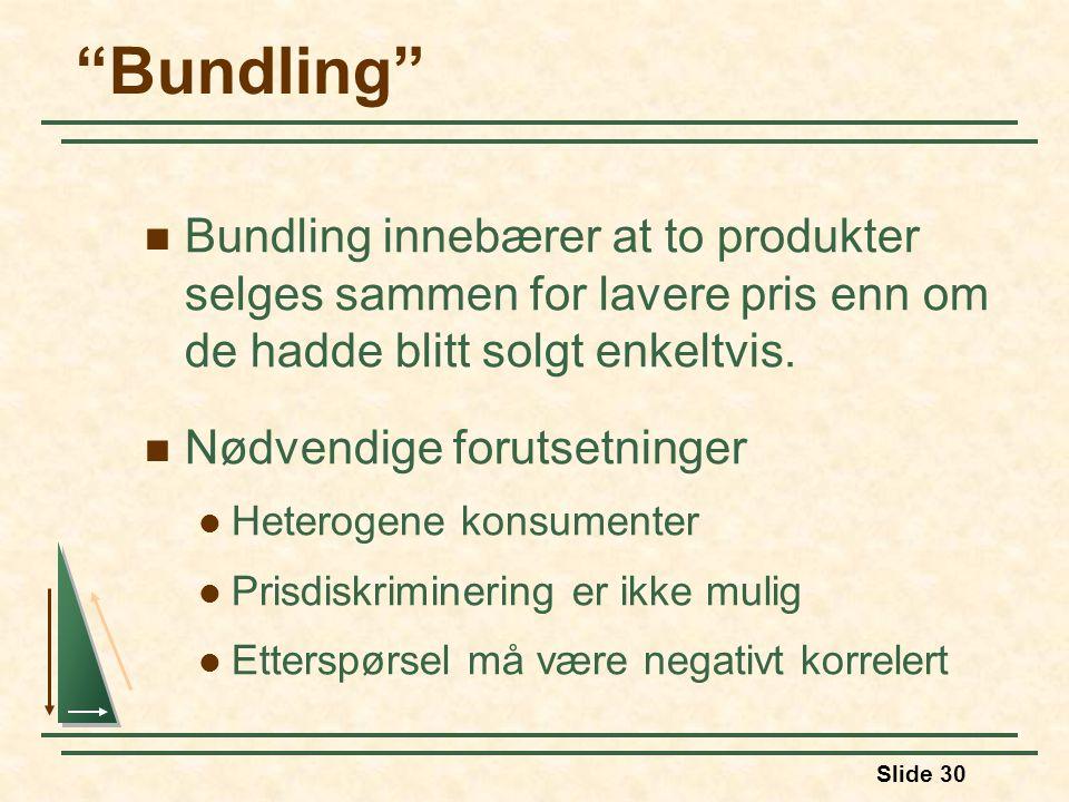 Bundling Bundling innebærer at to produkter selges sammen for lavere pris enn om de hadde blitt solgt enkeltvis.