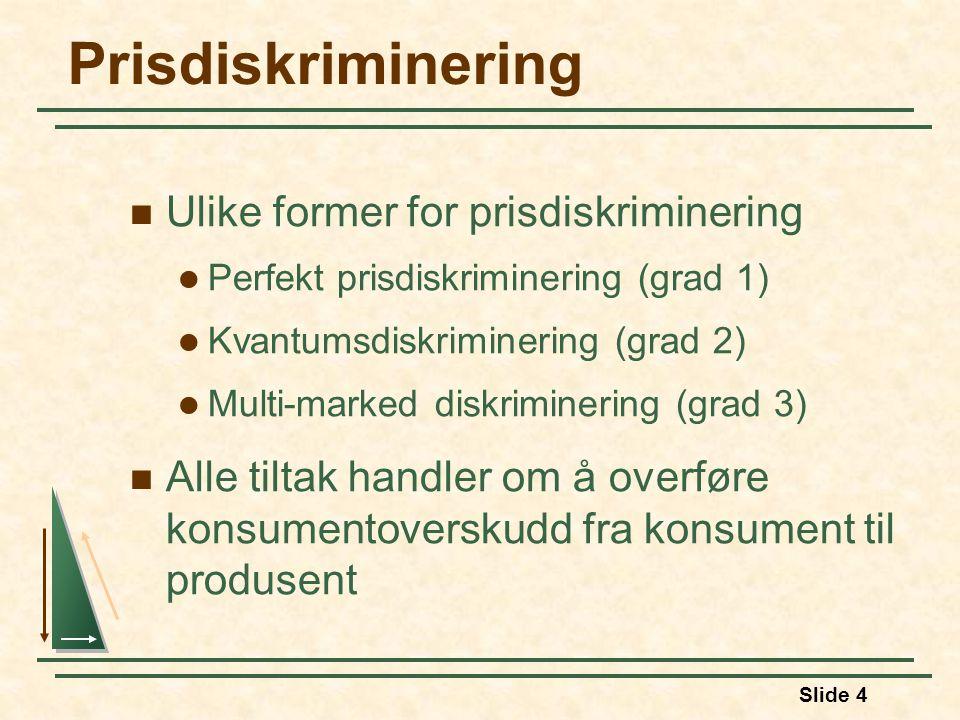 Prisdiskriminering Ulike former for prisdiskriminering