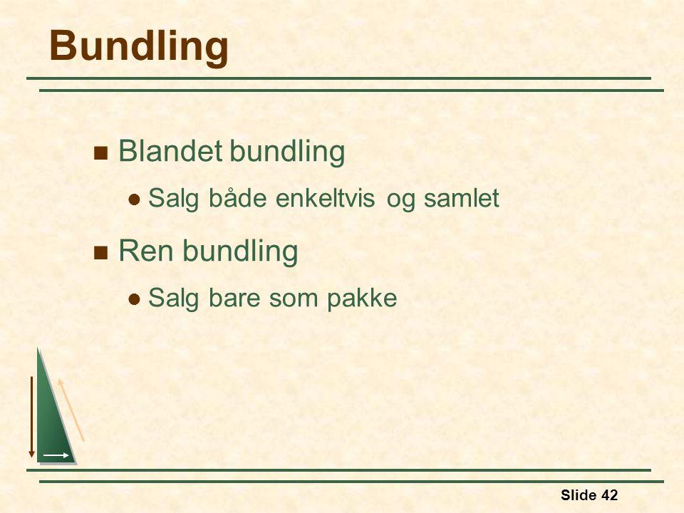Bundling Blandet bundling Ren bundling Salg både enkeltvis og samlet