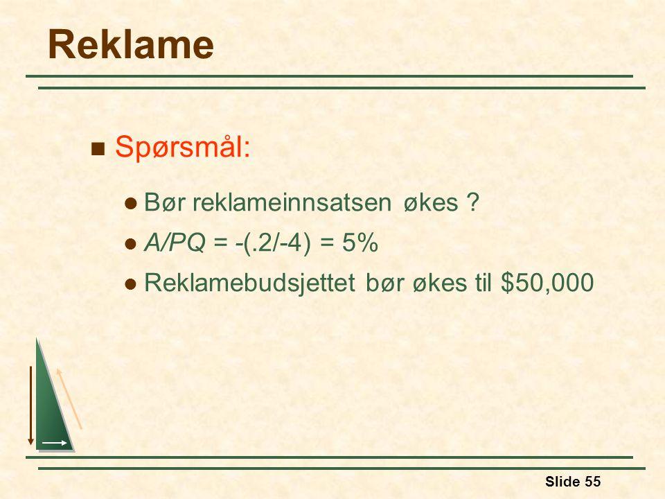 Reklame Spørsmål: Bør reklameinnsatsen økes A/PQ = -(.2/-4) = 5%