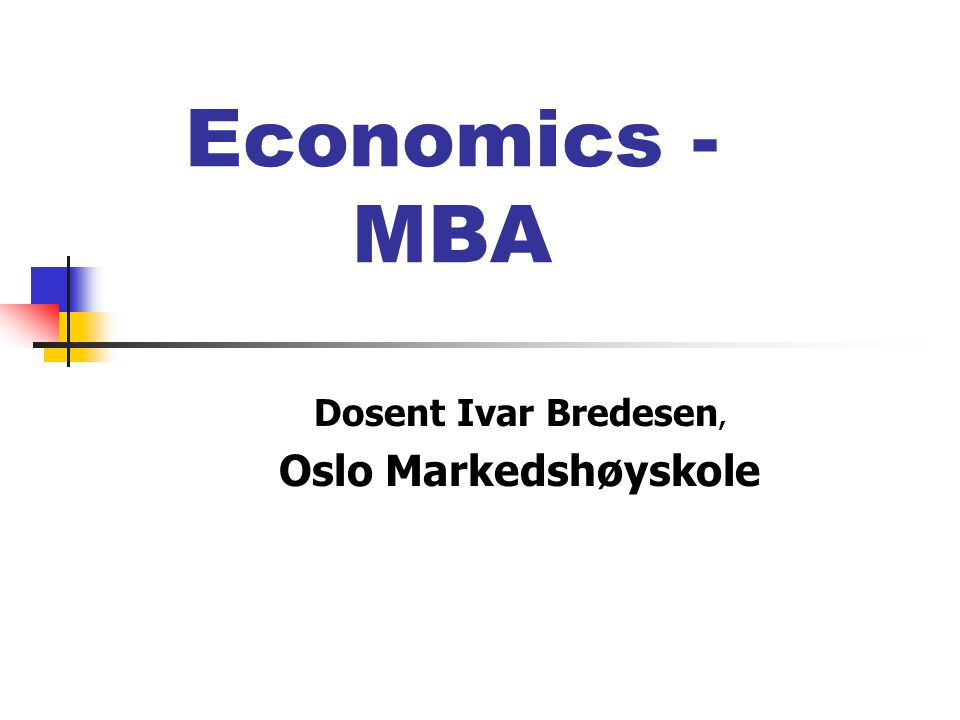 Dosent Ivar Bredesen, Oslo Markedshøyskole