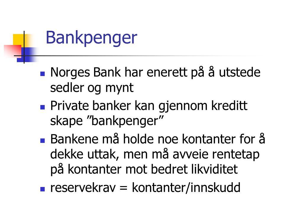 Bankpenger Norges Bank har enerett på å utstede sedler og mynt