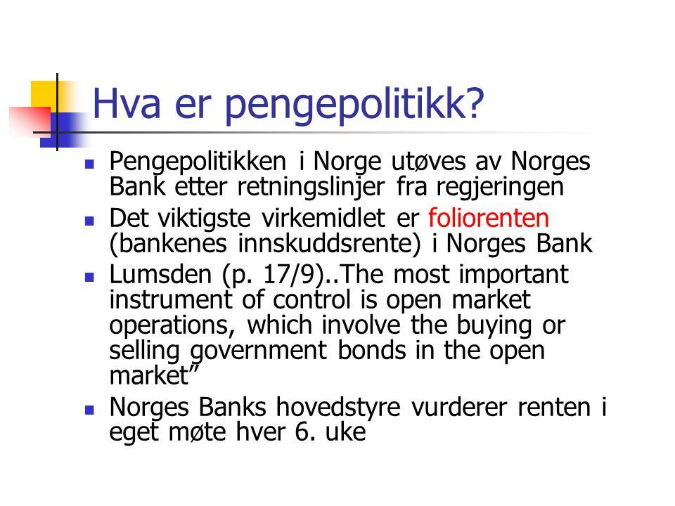 Hva er pengepolitikk Pengepolitikken i Norge utøves av Norges Bank etter retningslinjer fra regjeringen.