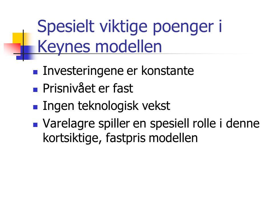Spesielt viktige poenger i Keynes modellen