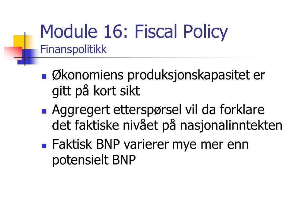 Module 16: Fiscal Policy Finanspolitikk