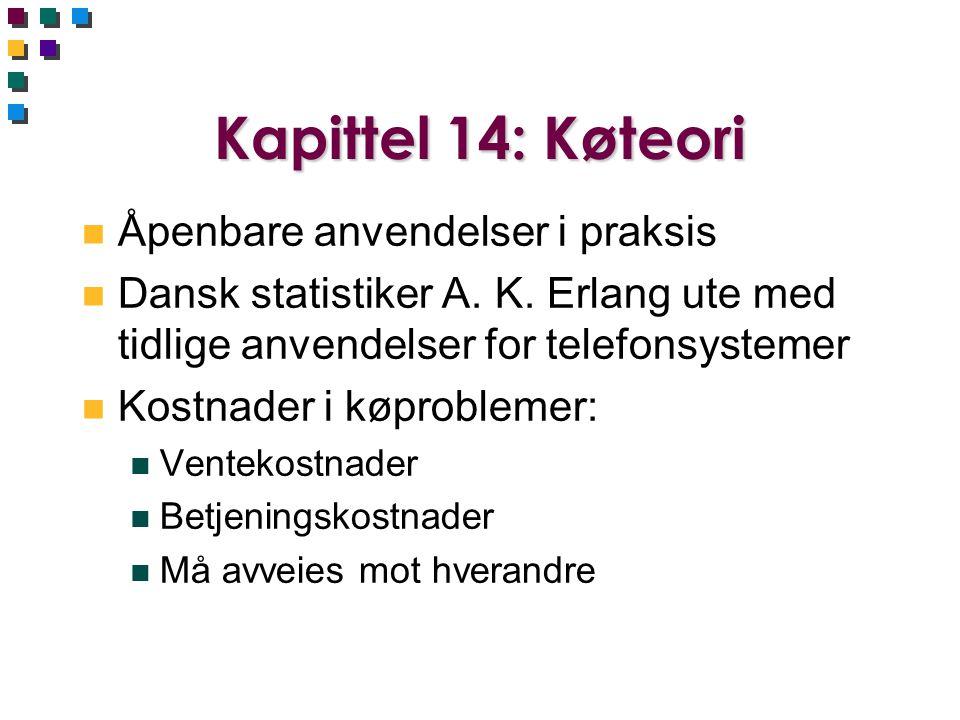 Kapittel 14: Køteori Åpenbare anvendelser i praksis