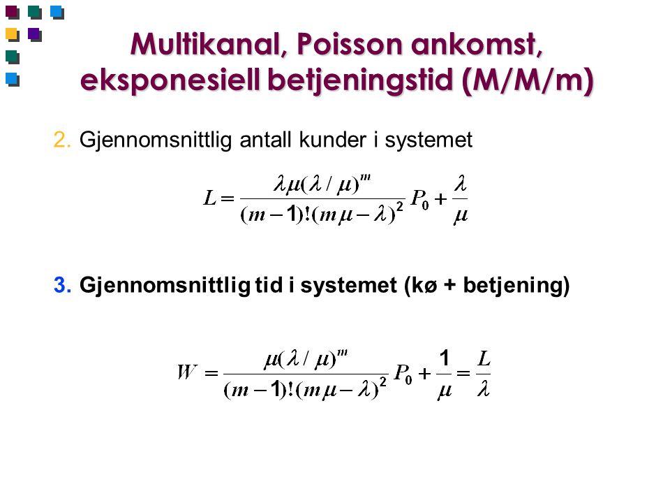 Multikanal, Poisson ankomst, eksponesiell betjeningstid (M/M/m)