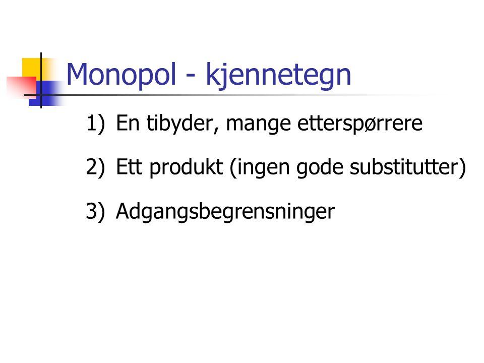 Monopol - kjennetegn 1) En tibyder, mange etterspørrere