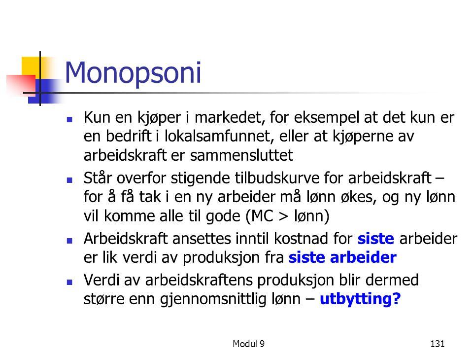 Monopsoni Kun en kjøper i markedet, for eksempel at det kun er en bedrift i lokalsamfunnet, eller at kjøperne av arbeidskraft er sammensluttet.