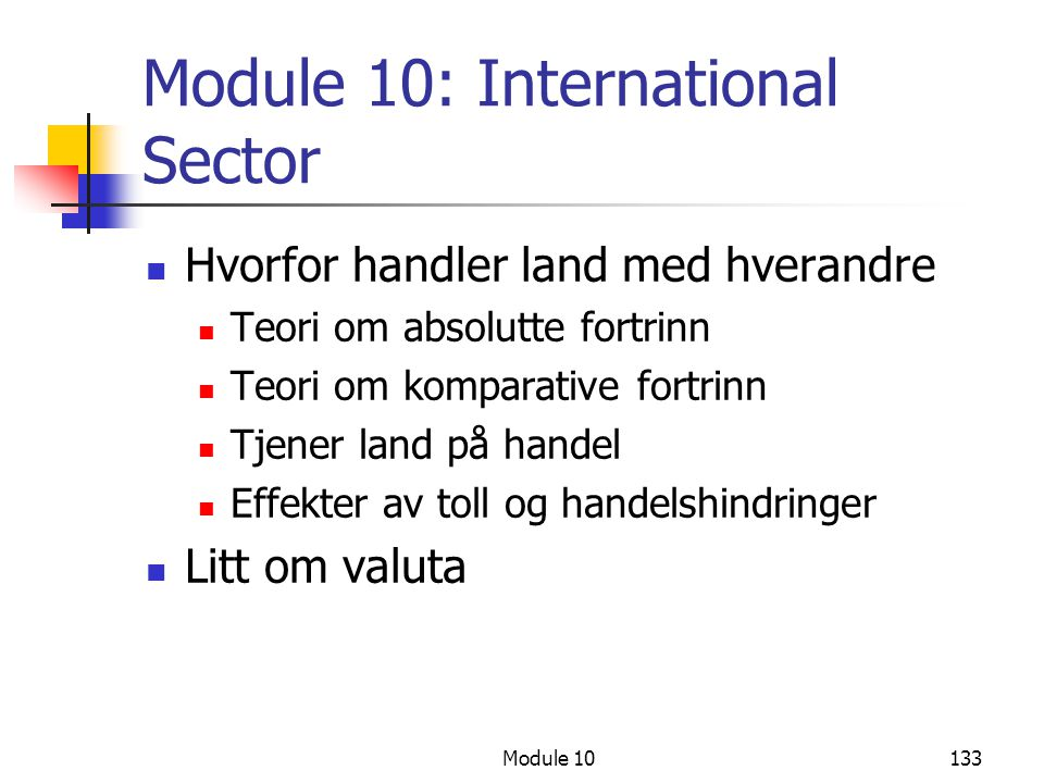 Module 10: International Sector