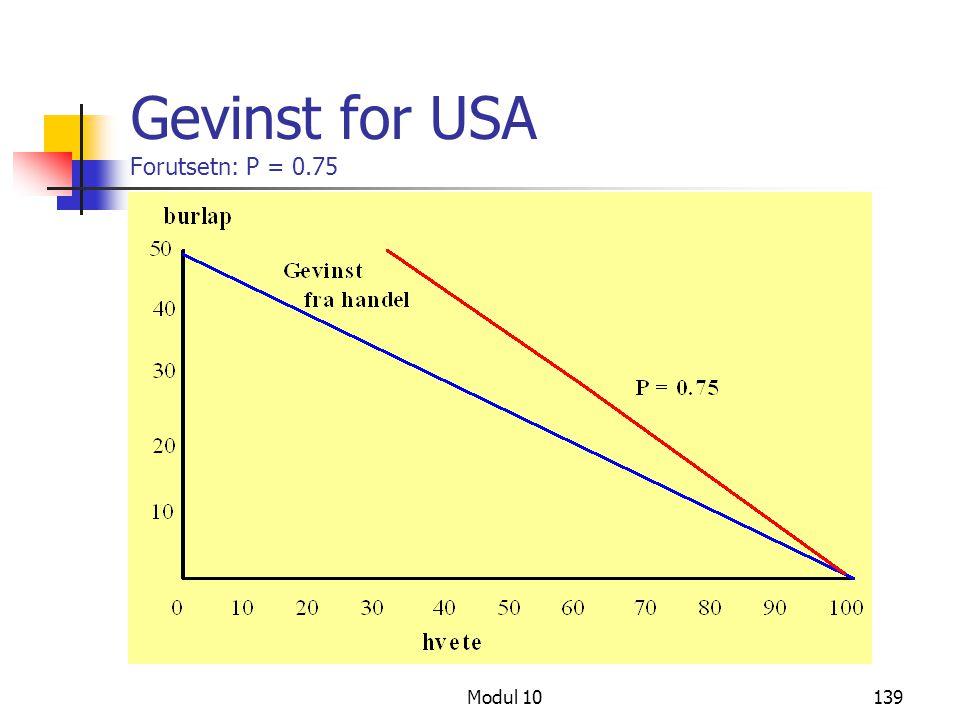 Gevinst for USA Forutsetn: P = 0.75